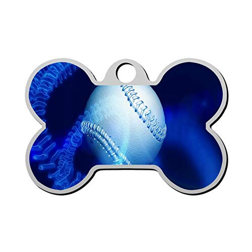 Pet Tag - Bone Shaped Dog Tag & Cat Tags Pet ID Tag Personalized Custom Your Pet's Name & Number 3D Printing (Sports Baseball Game)