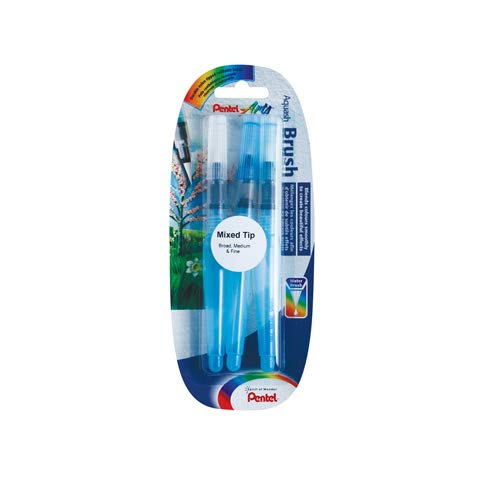 Pentel Xfrh Aquash Water Brush Pennello con Serbatoio Riempibile 3 Pezzi Punta Fine/Media/Grande