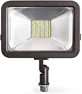 ASD LED 20W Floodlight with Knuckle Mount, Super Slim, Compact SMD Outdoor Landscape Waterproof, UL Listed, DLC Certified, Bronze, 4000K (Bright Light)