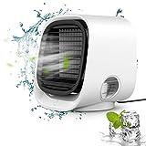 Aire acondicionado portátil pequeño Sporgo 4 en 1, aire acondicionado, ventilador, humidificador, 3 velocidades, 7 colores, LED para el hogar, oficina, exterior, USB, mini enfriador de aire portátil