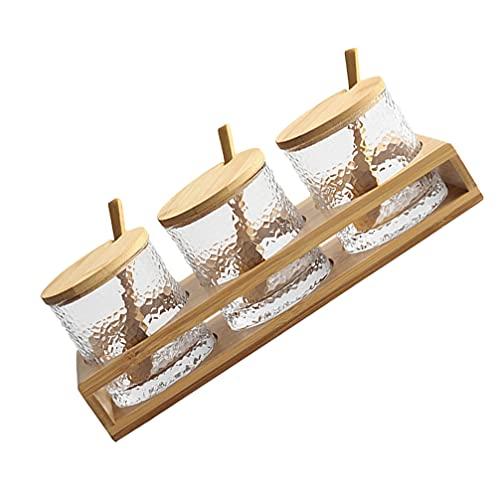 HEMOTON 1 juego de condimentos tarro de especias recipiente de vidrio con tapas de madera, cucharas, bandeja para servir para el hogar, cocina, azúcar, servir, té, café