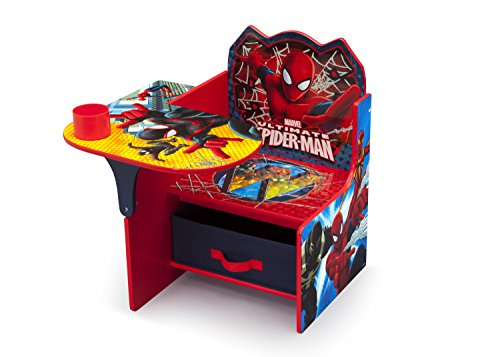 Delta Children Chair Desk with Storage Bin - Ideal for Arts & Crafts, Snack Time, Homeschooling, Homework & More, Marvel Spider-Man
