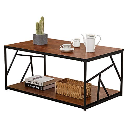 VECELO Modern Coffee Tea Double Storage Space Wooden Side End Table with Black Metal Frame(40in), Brown