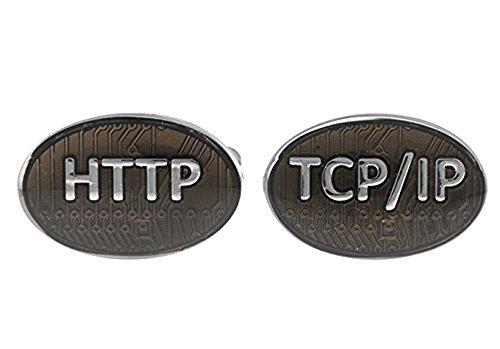 HTTP TCP IP computer Cufflinks dans une boîte de présentation de luxe gratuite. Nouveauté informatique thème bijoux