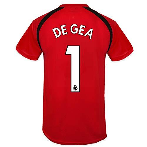 Manchester United FC - Camiseta Oficial de Entrenamiento - Para Niño - Poliéster - Rojo De GEA 1-8-9 Años