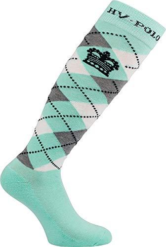 HV Polo Kniestrümpfe Reitsocken Argyle Socken, Strümpfe, Socken, hohe Rutschfestigkeit, Baumwollmaterial, ideal für das Tragen in Reitstiefel und Chaps Größen Kollektion 2017-2018 (Pool Blue, 35-38)