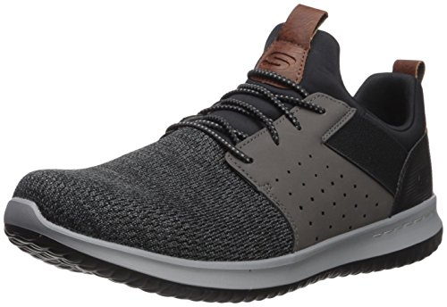Skechers Men's Classic Fit-Delson-Camden Sneaker, Black/Grey,9.5 Wide US