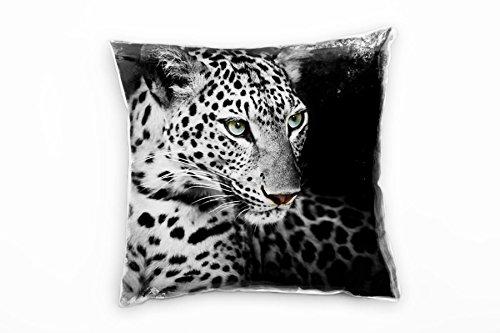 Paul Sinus Art Dieren in zwart, wit, blauw, luipaard, naaffoto, decoratief kussen 40 x 40 cm, voor bank, sofa, lounge, sierkussen