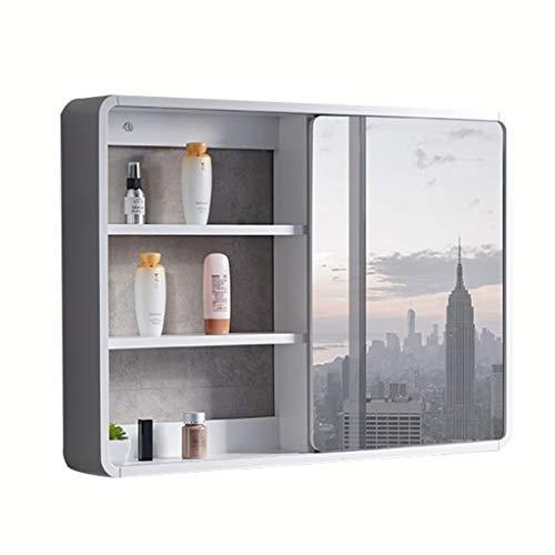 Badkameraccessoires Badkamer massief houten spiegelkast huishouden waterdichte spiegel doos wc spiegel met plank wandmontage schuifdeur (Color : White, Size : 60 * 14 * 65cm)