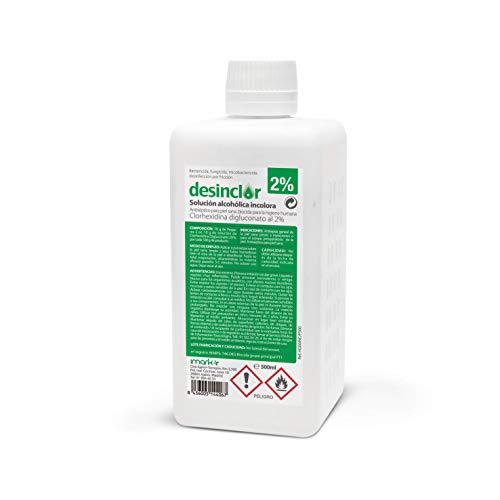 Desinclor Clorhexidina Alcoholica Incolora 2% Antiseptico - 500 ml con tapón