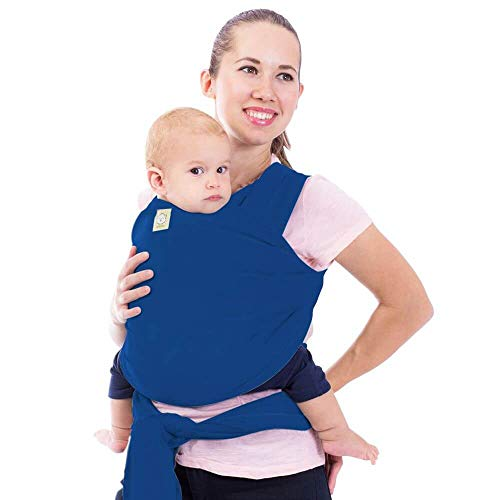 Baby Wrap Carrier - All in 1 Stretchy Baby Sling - Ergo Carrier Sling - Baby Carrier Wraps - Baby Carriers for Newborn, Infant - Baby Holder Straps - Baby Slings - Baby Sling Wrap (Cobalt Blue)