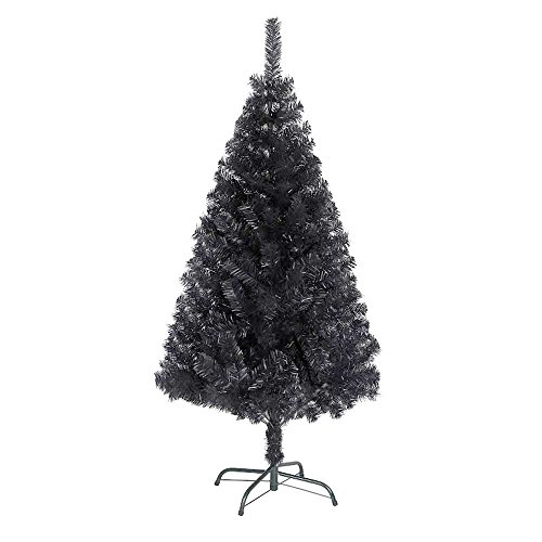 SHATCHI Albero di Natale Artificiale Nero Alaskan, 390 Punte con Supporto in Metallo, 150 cm, Plastica, 5FT