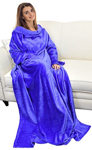 """Catalonia Wearable Blanket with Sleeves and Pocket, Soft Fleece Mink Micro Plush Wrap Throws Blanket Robe for Women and Men 73"""" x 51"""""""