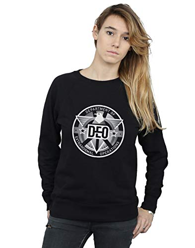 Absolute Cult DC Comics Damen Supergirl TV Series Deo Crest Sweatshirt Schwarz Small