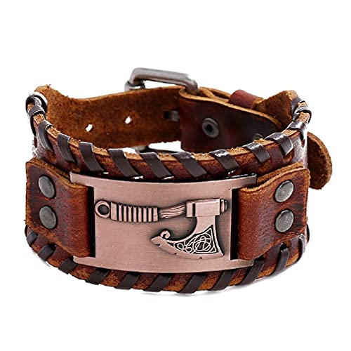 Axe Bracelet for Men, Nordic Viking Axe Leather Bracelet Celtic Axe Cuff Bangle Bracelet Men's Punk Norse Axe Wristband Bracelet Jewelry Gift Father's Day Accessories (brown buckle)