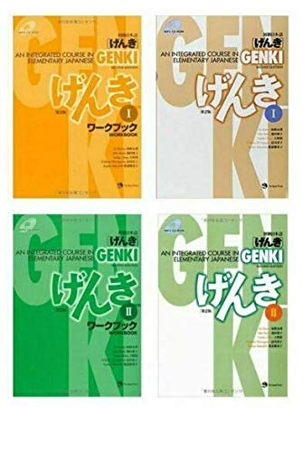 Genki 1 2 , Learning Japanese for Beginners 4 Book Bundle Set , An Integrated Course in Elementary Workbook and Textbook With Original Sticky Notes