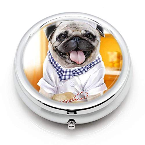 3 Compartment Pill Box Cook The Dog Luxury Travel Kit Storage Metal Round Silver Button Pill Dispenser Vitamins Fish Oil Supplements
