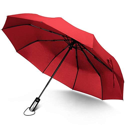 1 Pack Reizen Winddichte Paraplu Automatische Compact One Handed Operation 10 Ribs Versterkte RVS Glasvezel Bouw Rood