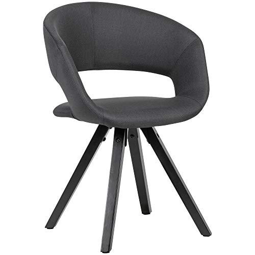FineBuy Esszimmerstuhl Schwarz Stoff mit schwarzen Beinen Retro Stuhl | Küchenstuhl mit Lehne | Polsterstuhl Maximalbelastbarkeit 110 kg