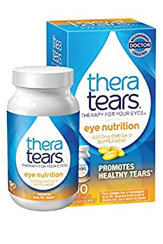 TheraTears 1200mg Omega 3 Supplement for Eye Nutrition Organic Flaxseed Triglyceride Fish Oil and Vitamin E 90 Count