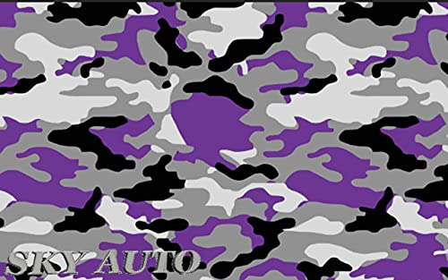 """Sky Auto INC Purple Black White Gray Camouflage Vinyl Car Wrap Film Sheet + Free Cutter & Squeegee (40FT x 5FT / 480"""" x 60"""")"""