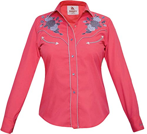 Modestone Women's Embroidered Long Sleeved Fitted Western Camicia Cowboy Floral Fushia XS