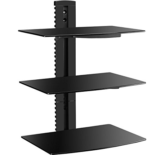 WALI Floating Wall Mounted Shelf with Strengthened Tempered Glasses for DVD Players, Cable Boxes, Games Consoles, TV Accessories (CS303), 3 Shelf, Black