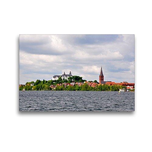 Premium Textil-Leinwand 45 x 30 cm Quer-Format Großer Plöner See mit Schloss | Wandbild, HD-Bild auf Keilrahmen, Fertigbild auf hochwertigem Vlies, Leinwanddruck von Sigrun Düll