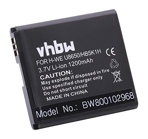 vhbw Akku 1200mAh (3.7V) für Huawei Ascend Y200, Huawei Ascend Y201 Pro, u.a. wie HB5K1H.
