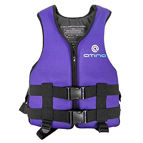 Q-YR Chaleco Salvavidas Portátil Seguridad para Niños Chaleco De Natación Profesional Buoyancia Grande Ajustable para Buceo, Navegación, Surf,Púrpura,50kg