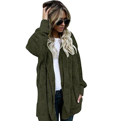 Moonuy Damen Pullover Strickjacke, Herbst/Winter Heißer Frauen Mit Kapuze Langen Mantel Jacke Hoodies Parka Outwear Strickjacke Kunstpelz Mantel (S, Armeegrün)