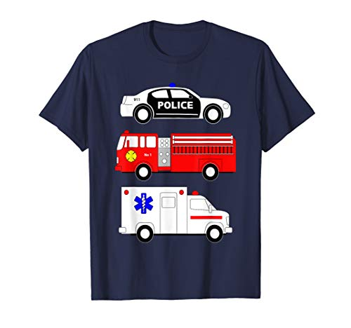 Police Car Fire Truck Ambulance First Responders Design T-Shirt