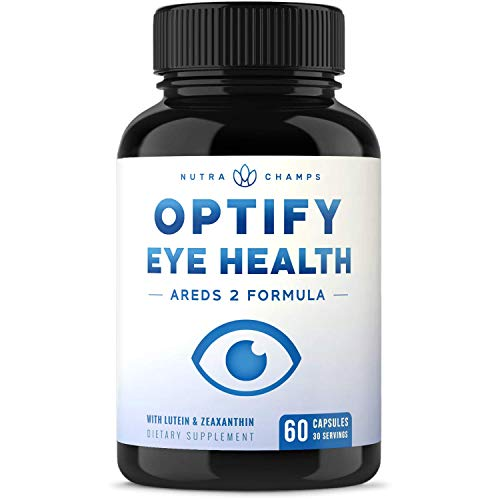 Eye Vitamins with Lutein and Zeaxanthin - AREDS 2 Formula for Macular Degeneration, Strain, Dry Eyes & Vision Support - Optify Eye Health Ocular Care Supplement with Omega 3 Powder & Bilberry Extract