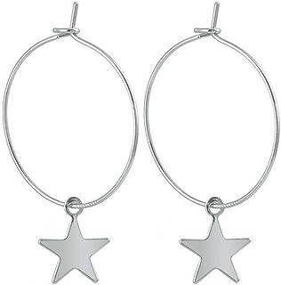 Bobury Pendientes Plateado Perforada de la Estrella del aro de aleación geométrico Gota Colgante Que cuelga Gota para el o...