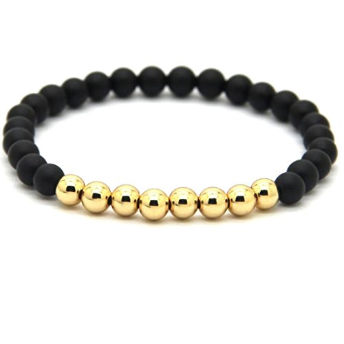 Lion&Son Pisa Armband - Herren-Kette Achat Lava Damen-Perlen-Band Schwarz Edel-Stein Mode-Schmuck Buddha Yoga, Farbe:Gold