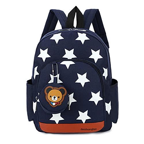 XYBB Mochila infantil Mochila escolar para niños jardín de infantes niñas niños dibujos animados anime doble cremallera niños 2-3-5 años estrella mochila impermeable azul oscuro