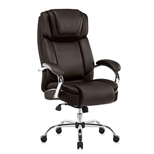 YAMASORO Ergonomischer Bürostuhl, großer und hoher PU-Lederstuhl, Computer-Schreibtischstuhl, Chefsessel mit für Home Office, Braun