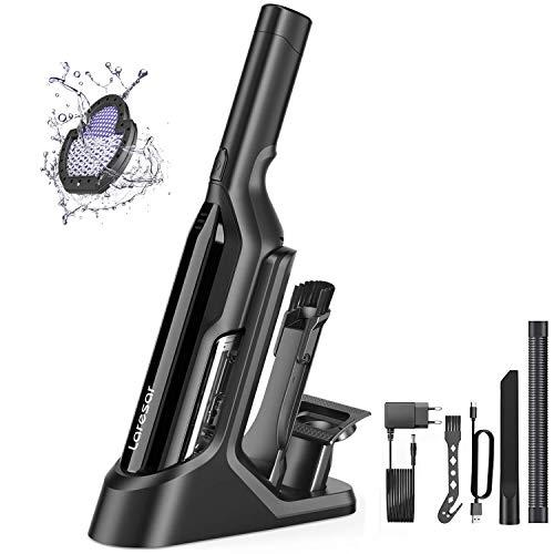 Laresar Aspirateur à Main sans Fil, 17000Pa Aspirateur de Table Portable Puissant Lger, Lumière LED super brillante, 2 vitesses, Autonomie jusqu'à 30 min(Origin1)