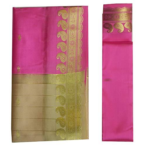 indischerbasar.de Brokat Sari beige pink Goldbrokat Indien Tracht Bindi Ohrhänger Wickelkleid Polyester