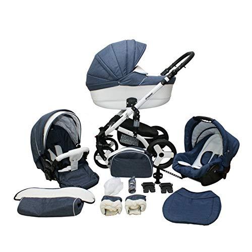 Kinderwagen 2in1 3in1 Isofix Buggy Autositz Premium Cruiser S by Lux4Kids Denim 8b 3in1 mit Babyschale