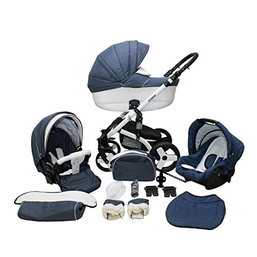 Kinderwagen 2in1 3in1 Isofix Buggy Autositz Premium Cruiser S by Lux4Kids Denim...