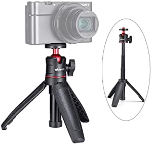 MT-08 Mini Travel Tripod with Ballhead, Telescoping Desktop Tripod Stand for Smartphones Cameras Vlogging