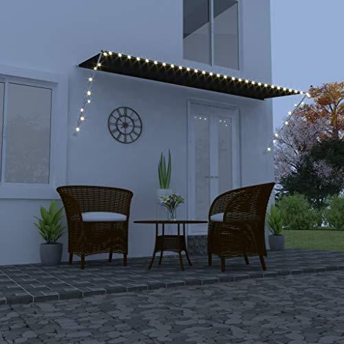 vidaXL Markise Einziehbar mit LED Handbetrieben Balkonmarkise Sonnenschutz Windschutz Beschattung Terrasse Garten Außen Rollo 400x150cm Anthrazit