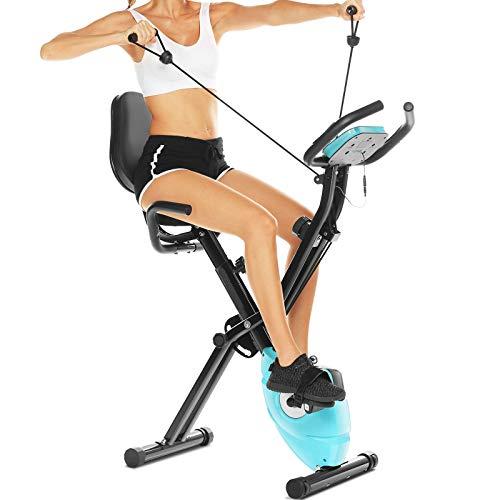2-in-1 Heimtrainer Fahrrad mit Rückenlehne,klappbarer Heimtrainer mit App Anbindung,LCD-Display,10 verstellbare Widerstandsstufen und Herzmonitor - Perfektes Heimtrainingsgerät für Cardio