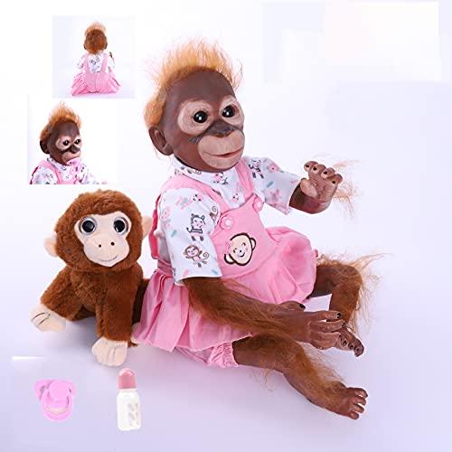 ZIYIUI Realistico 22 pollici 55 cm Reborn Bambola Bambino Scimmia Morbido Silicone Vinile Dolls Bambolina Magnetica Bambino Neonato Ragazzo Giocattolo
