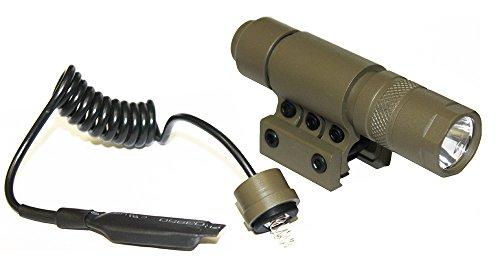 Ultimate Arms Gear FDE Flat Dark Earth Tan 90+ Lumens Military Flashlight CREE LED Light Kit+Mount, Pressure Switch, Tail Cap, And Batteries-Rifle-Shotgun-Gun-Weapon For Weaver/Picatinny Rail