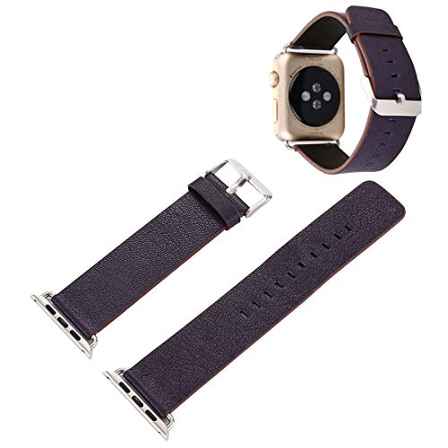 for Apple-Uhr-Serie 3 & 2 & 1 42mm Pflanze Epidermis Texture PU-Leder-Armbanduhr-Band Leather Watch Strap (Color : Navy Blue)