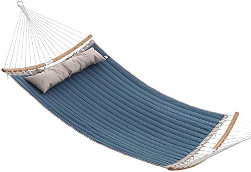 MKO Padded Double Hammock, Hammock with Detachable Curved Bamboo Spreader Bars,Blue + Beige