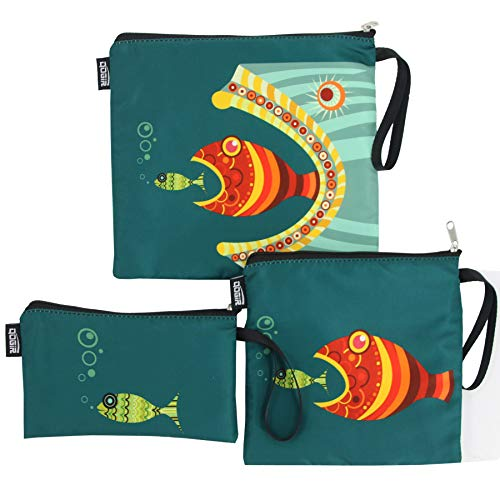 QOGiR Double Layer Reusable Snack Bags and Sandwich Bags with Handle (fish)