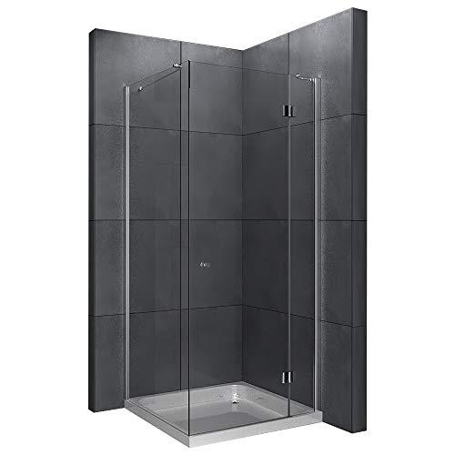 Alpenberger Antikalk Eck- Duschkabine 80x80x200 cm | Eckdusche mit Einer Duschtür und Zwei feststehenden Seitenteilen aus 6 mm starkem Einscheibensicherheitsglas (ESG) | Easy-Clean Nanoversiegelung